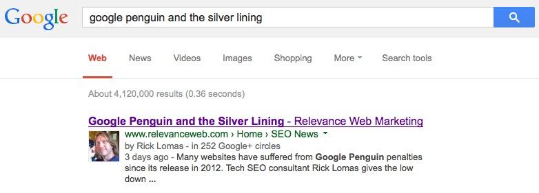Google Penguin Silver Lining Result
